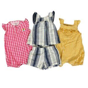 Carter's Lot of 3 Baby Girl Rompers Outfits